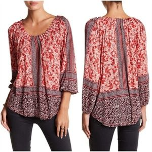 LUCKY BRAND Coral Printed Placed Boho Peasant Top